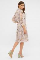 белое платье с цветочным рисунком. платье Элисон 3/4. Цвет: сиреневый- роза ваниль в интернет-магазине