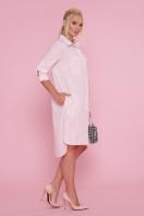 платье-рубашка больших размеров. платье Валентия-Б 3/4. Цвет: персик-полоска купить