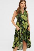 . платье Тория б/р. Цвет: черный-Тропический лист купить