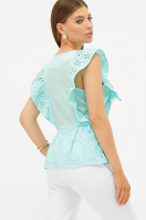 голубая летняя блузка. блуза Илари б/р. Цвет: бирюза цена