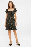 цветочное платье в деревенском стиле. платье Даная к/р. Цвет: черный-м. цветы купить