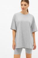 синяя удлиненная футболка. футболка Хизер. Цвет: серый меланж в Украине