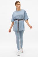 синяя удлиненная футболка. футболка Хизер. Цвет: джинс в Украине