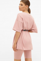 оверсайз футболка с поясом. футболка Хизер. Цвет: розовый в интернет-магазине