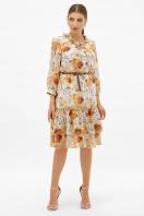 шифоновое платье цвета оливки. платье Элисон 3/4. Цвет: белый-цветы оранж. купить