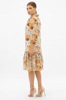 платье хаки из шифона. Платье Элисон 3/4. Цвет: белый-цветы оранж. в интернет-магазине