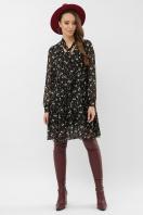 черное платье из шифона. платье Мара д/р. Цвет: черный-голубой цветок цена