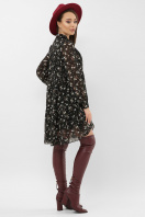 черное платье из шифона. платье Мара д/р. Цвет: черный-голубой цветок в интернет-магазине