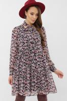 черное платье из шифона. платье Мара д/р. Цвет: синий-букет роз купить