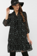 платье из шифона с рукавом три четверти. платье Малика д/р. Цвет: черный-зеленый цветок купить
