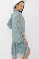 платье хаки из шифона. Платье Элисон 3/4. Цвет: бирюза-белый цветок в интернет-магазине