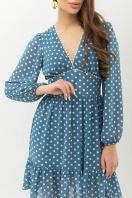 бежевое платье с цветами. Платье Бернарда д/р. Цвет: бирюза-белый горох в интернет-магазине