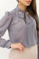 серая блузка в горошек. Блуза Аза д/р. Цвет: серый-пудра м.горох цена