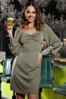 коктейльное серое платье. Платье Анелия д/р. Цвет: хаки купить