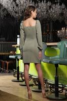 коктейльное серое платье. Платье Анелия д/р. Цвет: хаки в интернет-магазине