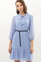 платье из шифона с рукавом три четверти. платье Малика д/р. Цвет: голубой-черный м.горох цена