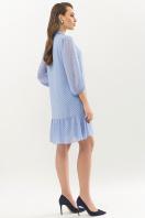 платье из шифона с рукавом три четверти. платье Малика д/р. Цвет: голубой-черный м.горох в интернет-магазине