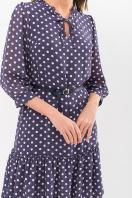платье хаки из шифона. Платье Элисон 3/4. Цвет: синий - белый горох в интернет-магазине