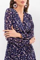 нежное платье на запах. Платье Алеста д/р. Цвет: синий-цветы в Украине