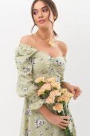 . Платье Пала д/р. Цвет: оливка-белый букет в интернет-магазине