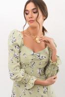 . Платье Пала д/р. Цвет: оливка-белый букет недорого