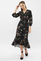 платье на запах из софта. Платье Сафура 3/4. Цвет: черный-ветка купить
