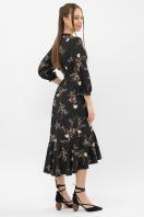 платье на запах из софта. Платье Сафура 3/4. Цвет: черный-ветка в интернет-магазине