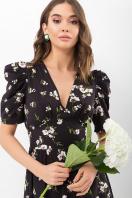 . Платье Фариза к/р. Цвет: черный-белый букет в интернет-магазине