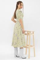 . Платье Фариза к/р. Цвет: оливка-белый букет в интернет-магазине
