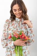 . Платье Мануэла д/р. Цвет: мята-персик Розы в интернет-магазине