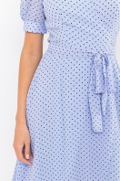. Платье Алеста к/р. Цвет: голубой-черный м.горох в интернет-магазине