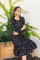 . Платье Агафия-1 д/р. Цвет: черный-м.букет в интернет-магазине