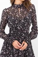 шифоновое платье мини. Платье Рина д/р. Цвет: черный-цветы веточки в Украине