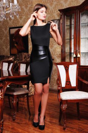 платье Тина б/р. Цвет: черный-черная кожа
