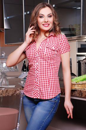 блуза Ковбой к/р. Цвет: красный-клетка