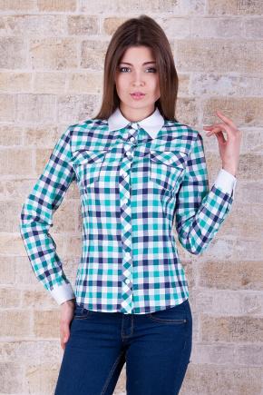 блуза Техас д/р. Цвет: зеленый-клетка крупн