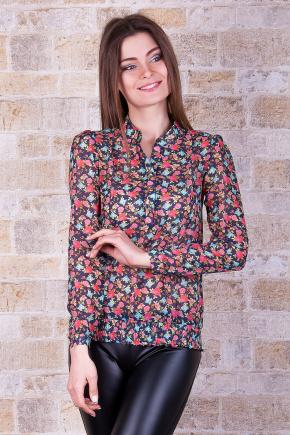 блуза Весна д/р. Цвет: т.синий-разноцветный