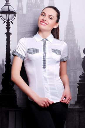 блуза Кортни2 к/р. Цвет: белый-клетка отделка