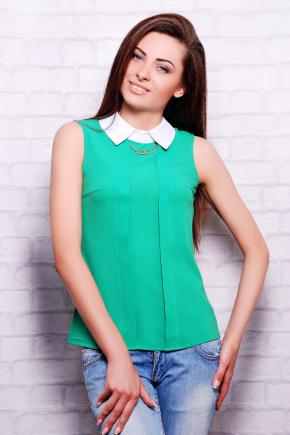 блуза Келли б/р. Цвет: зеленый-белая отделка