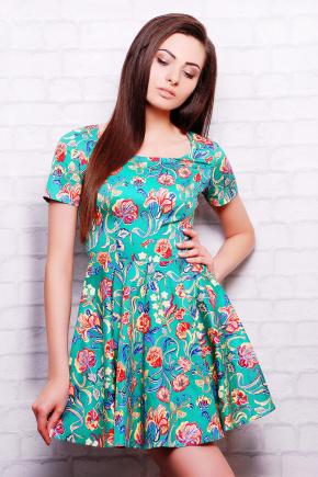 платье Милава2 к/р. Цвет: зеленый-цветы лилии