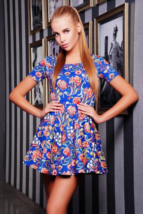 платье Милава2 к/р. Цвет: электрик-цветы лилии