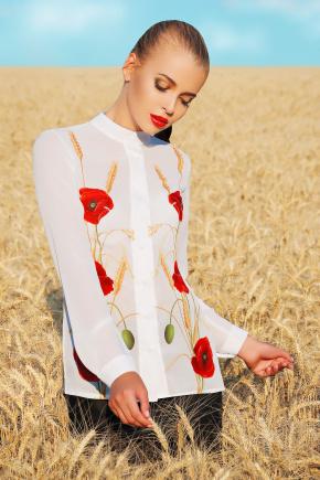Маки блуза Лекса 3Ш д/р. Цвет: белый