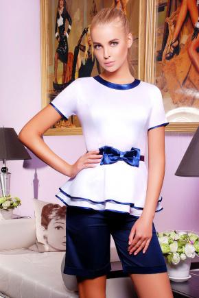 блуза Бонни к/р. Цвет: белый-т.синяя отделка