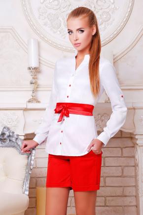 блуза Киола д/р. Цвет: белый-красная отделка