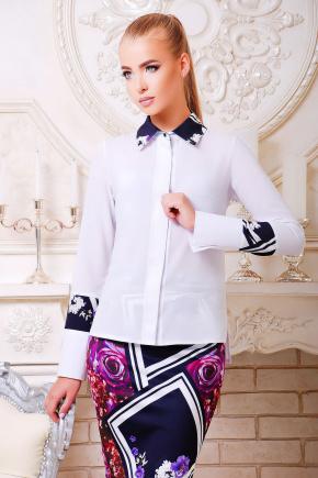 блуза Оригами д/р. Цвет: белый-цветная отделка