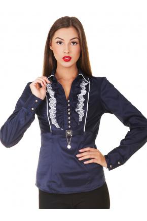 блуза Каролина д/р. Цвет: т.синий-белая отделка