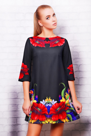 Маки платье Тая-3 д/р. Цвет: черный