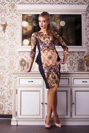 Золото платье Богемия д/р. Цвет: принт-черная отделка