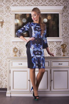 Камни платье Богемия д/р. Цвет: принт-черная отделка