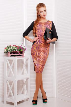 Питон оранжевый платье Саламандра д/р. Цвет: принт-черная отделка